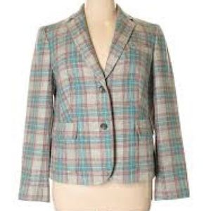 Talbots Plaid Blazer Grey, Blue and Pink EUC